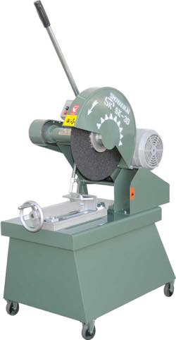 Friction sawing machine with a table